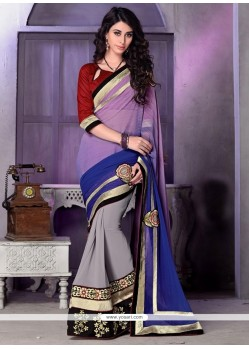 Stylish Georgette Grey Patch Border Work Traditional Designer Sarees