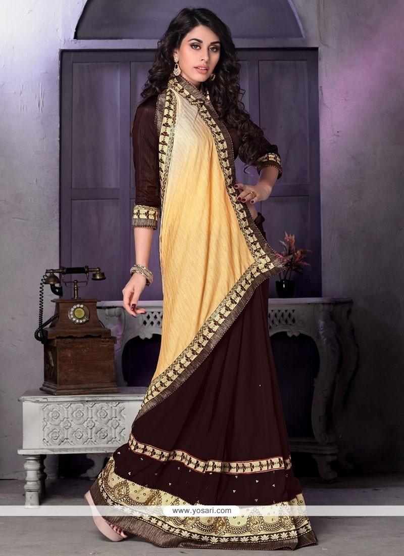 Vivid Patch Border Work Brown Designer Traditional Sarees