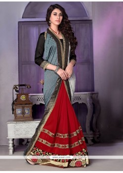 Desirable Red Embroidered Work Designer Traditional Sarees