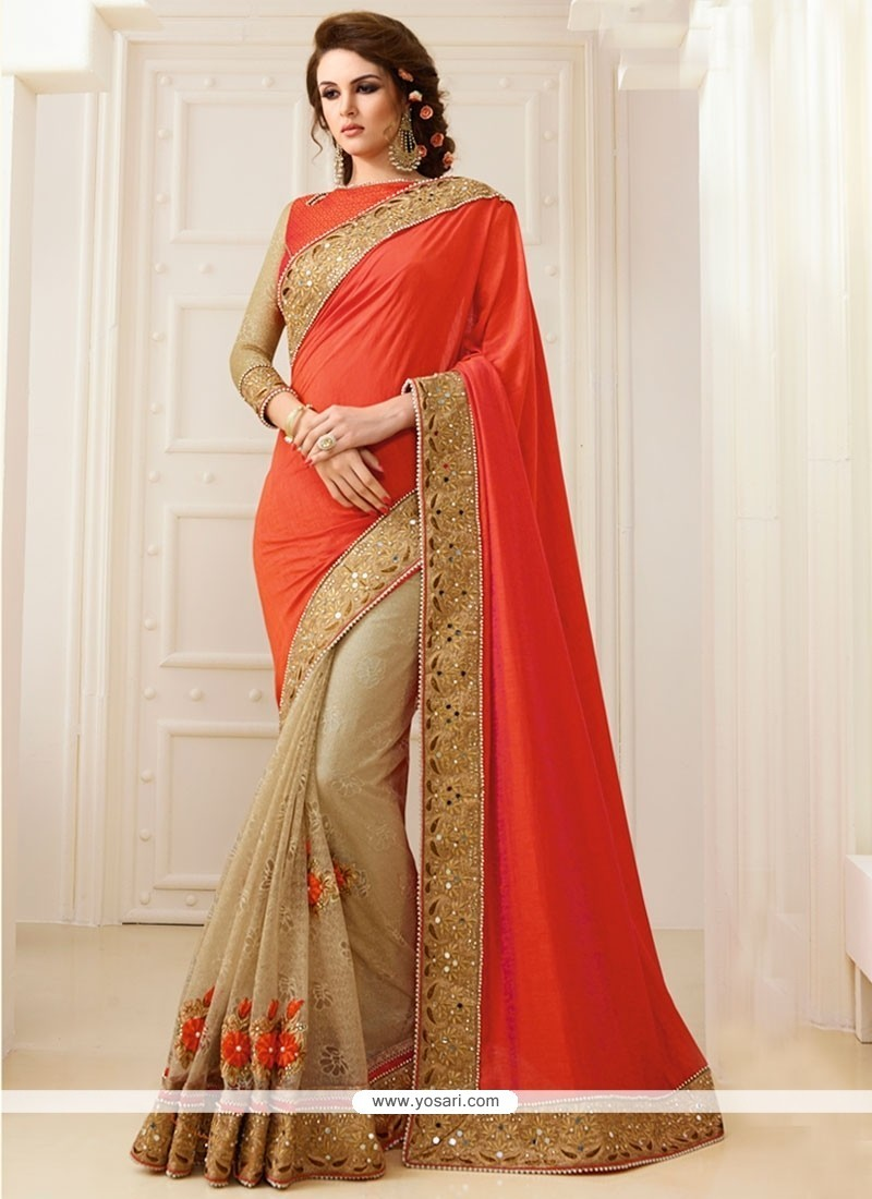 Breathtaking Orange Georgette Classic Designer Saree