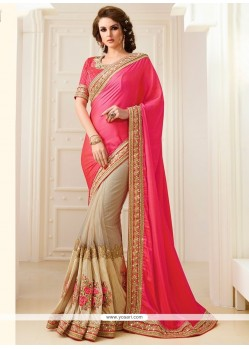 Fine Rose Pink Patch Border Work Traditional Designer Sarees