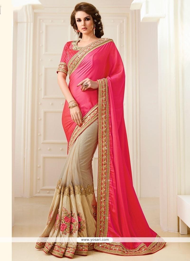 Fine Rose Pink Patch Border Work Traditional Designer Sarees