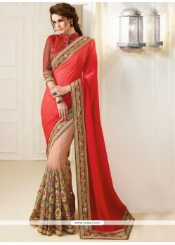 Beige And Red Patch Border Work Net Classic Designer Saree