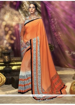 Astonishing Orange Printed Saree