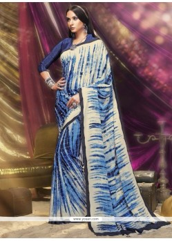 Blissful Print Work Navy Blue And Off White Printed Saree