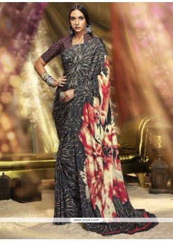 Splendid Print Work Crepe Silk Printed Saree