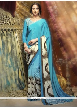 Ideal Blue Crepe Silk Printed Saree