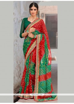 Best Georgette Green And Red Print Work Printed Saree