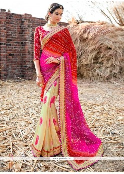 Trendy Georgette Patch Border Work Printed Saree