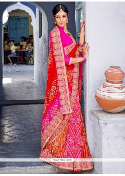 Captivating Georgette Pink And Red Patch Border Work Printed Saree