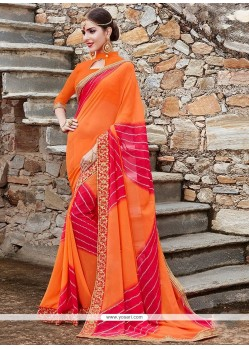 Peppy Georgette Patch Border Work Printed Saree