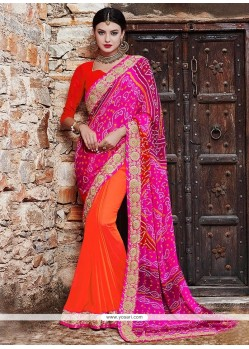 Dazzling Georgette Hot Pink And Orange Printed Saree