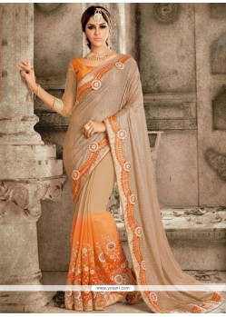 Surpassing Georgette Patch Border Work Trendy Saree