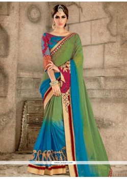 Dazzling Blue And Green Classic Saree