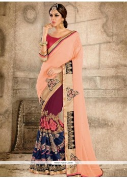 Invaluable Georgette Patch Border Work Classic Saree
