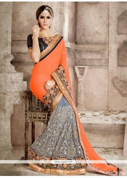 Fab Georgette Grey And Orange Trendy Saree