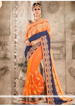 Observable Embroidered Work Orange Traditional Saree