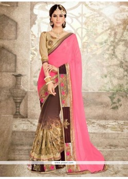 Lavish Georgette Rose Pink Patch Border Work Classic Saree