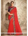 Distinctive Red Classic Saree