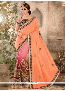 Patch Border Georgette Classic Designer Saree In Peach And Pink