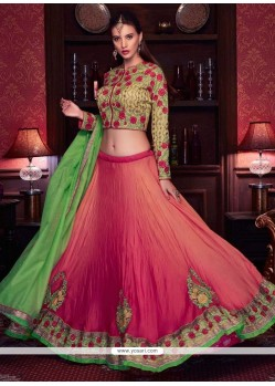 Splendid Green And Rose Pink Patch Border Work Lehenga Choli