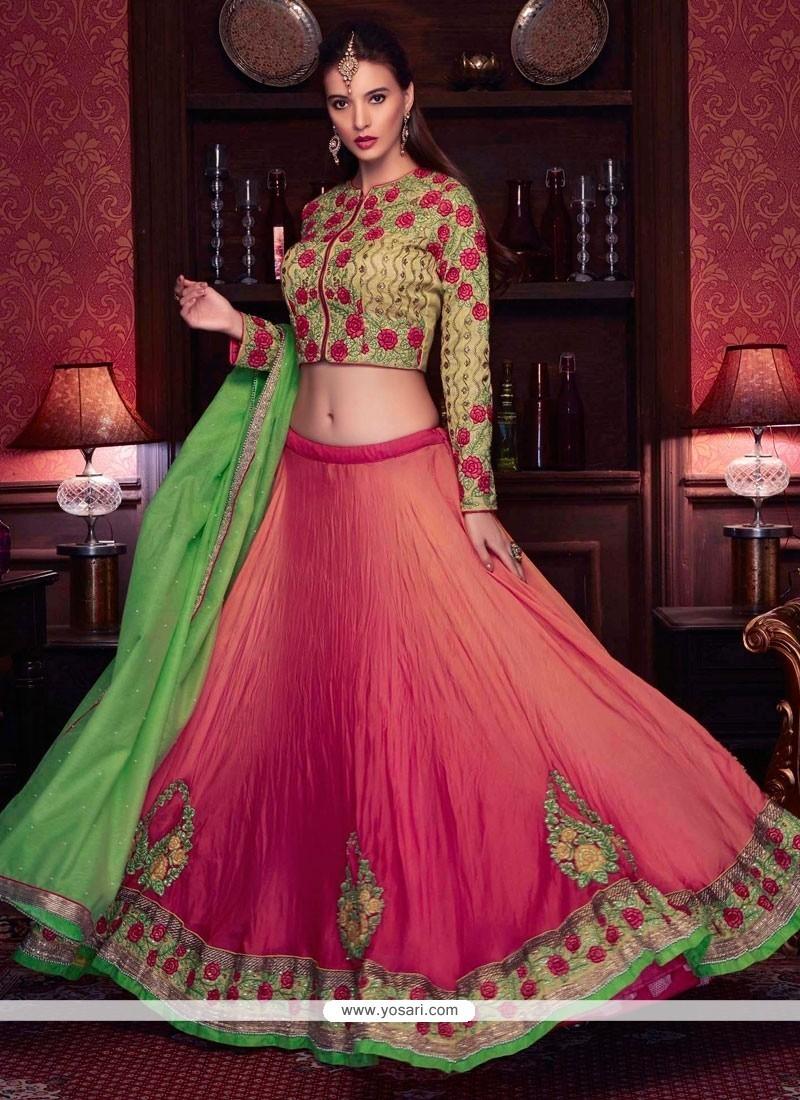 f5ad205c2 Buy Splendid Green And Rose Pink Patch Border Work Lehenga Choli ...