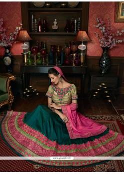 Incredible Art Silk Green And Hot Pink Lehenga Choli