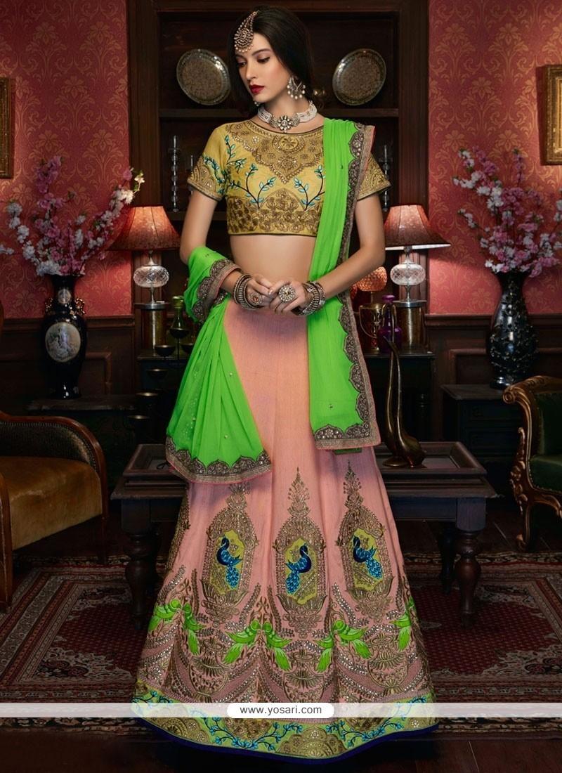 Impressive Pink Embroidered Work Fancy Fabric A Line Lehenga Choli