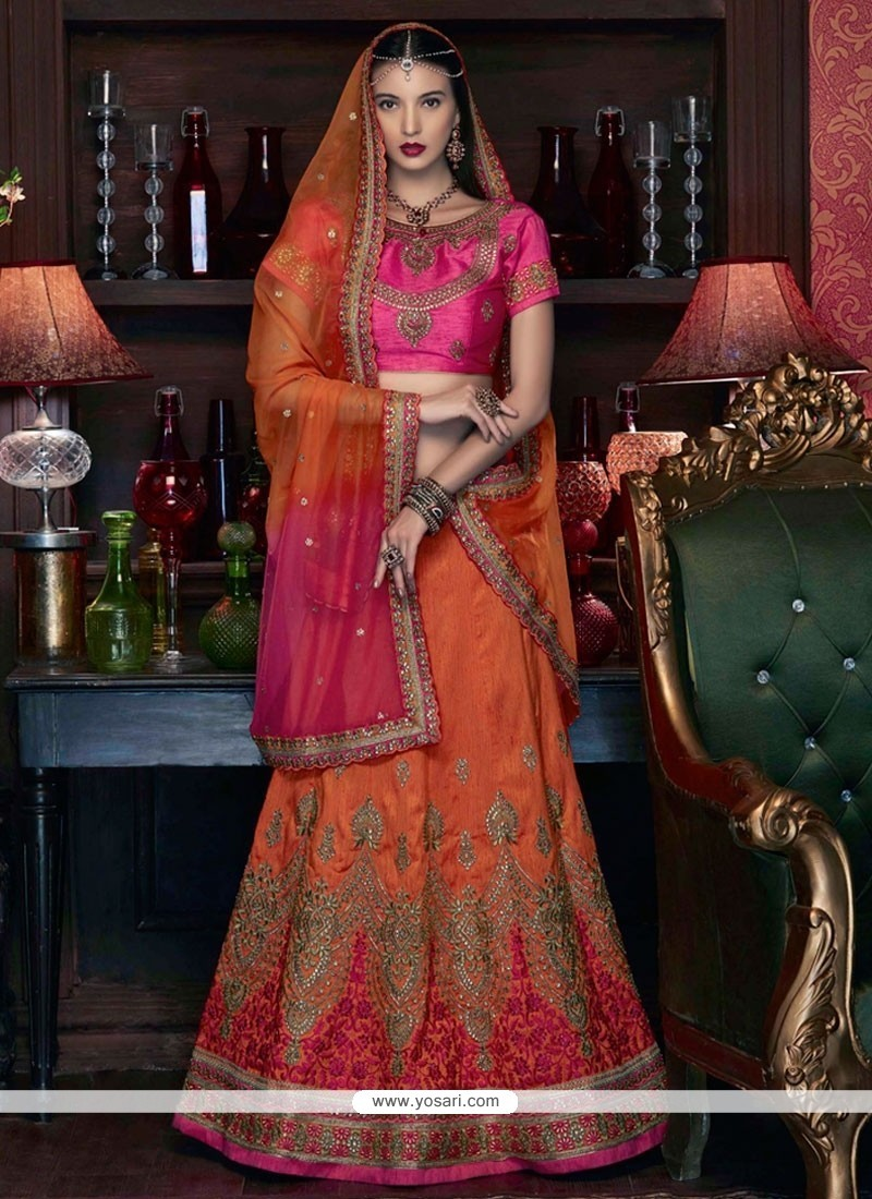 Invigorating Art Silk Hot Pink And Orange Lehenga Choli