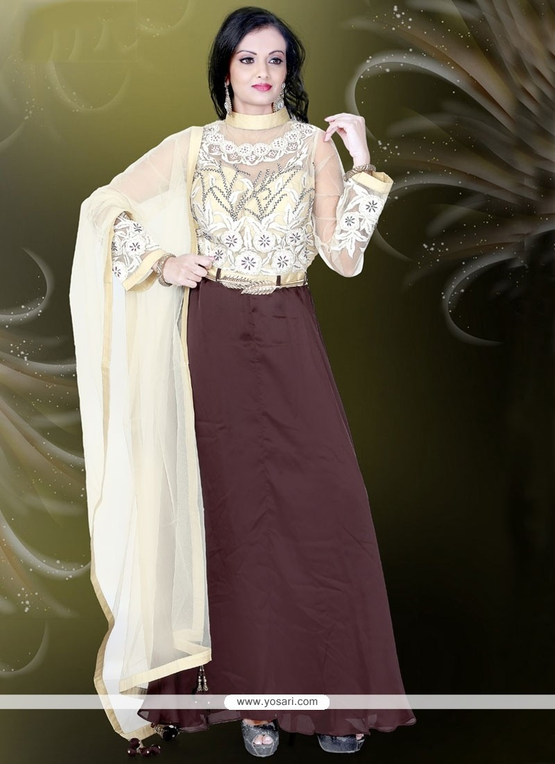 Blissful Net Embroidered Work Brown Readymade Gown