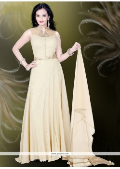 Vibrant Fancy Fabric Cream Embroidered Work Readymade Gown