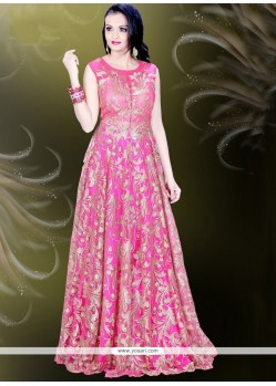 Suave Net Hot Pink Resham Work Readymade Gown