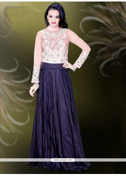 Navy Blue Faux Crepe Readymade Gown