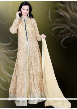 Floral Net Resham Work Readymade Gown