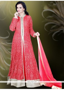 Alluring Net Embroidered Work Readymade Gown
