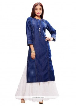 Observable Denim Blue Embroidered Work Party Wear Kurti