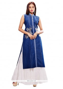 Flamboyant Blue Denim Party Wear Kurti