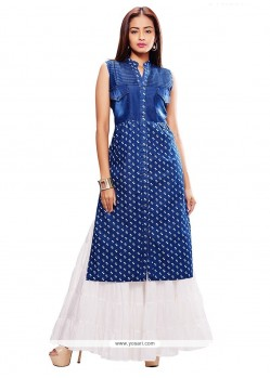 Tempting Denim Blue Party Wear Kurti