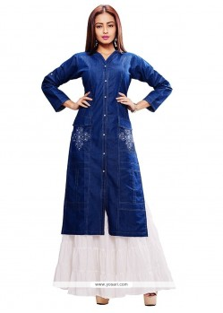 Blue Denim Party Wear Kurti