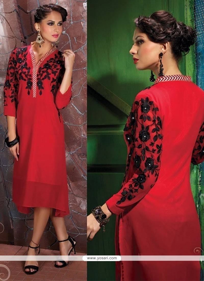 Gratifying Georgette Red Party Wear Kurti
