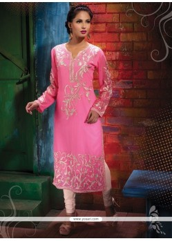 Miraculous Georgette Pink Print Work Party Wear Kurti