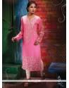 Miraculous Georgette Pink Print Work Party Wear Kurti