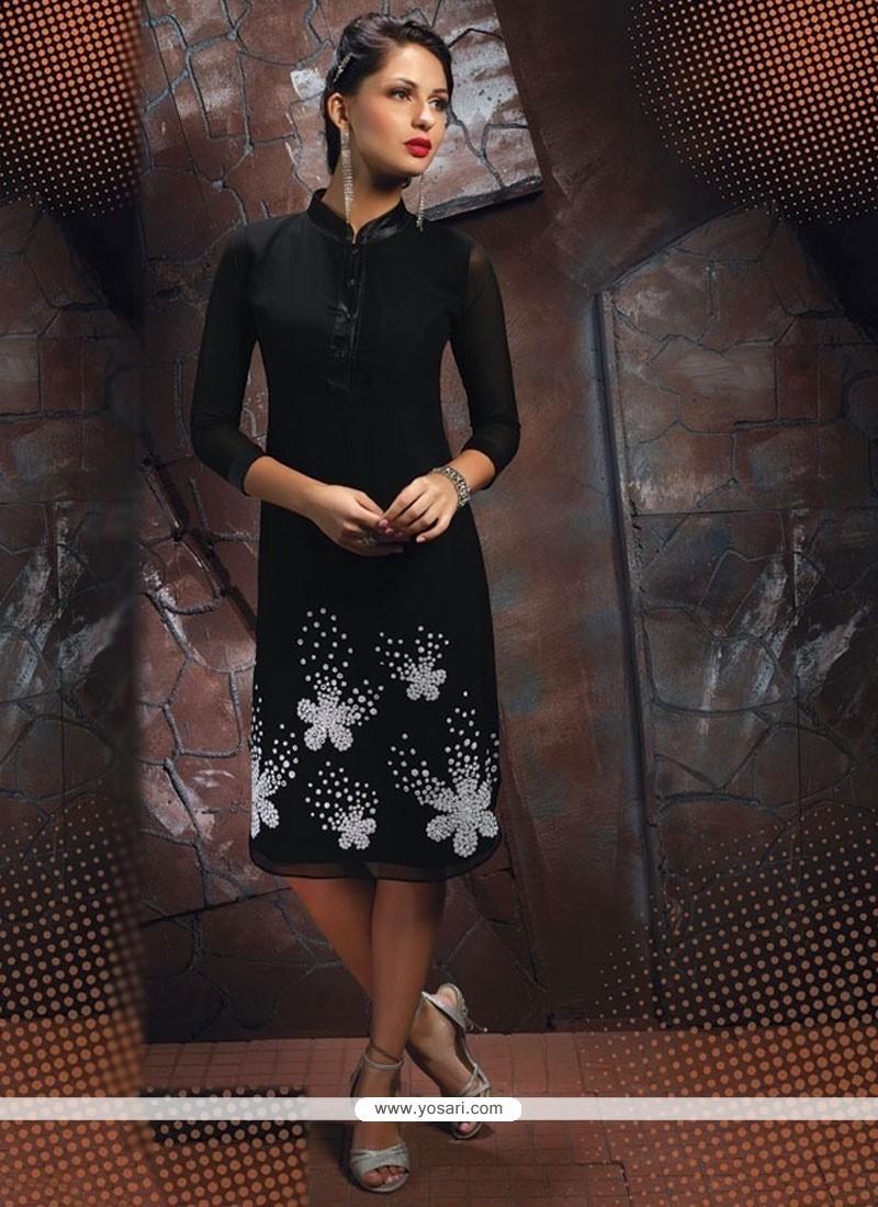 Suave Black Georgette Party Wear Kurti