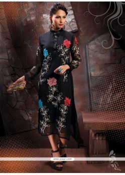 Festal Georgette Black Party Wear Kurti