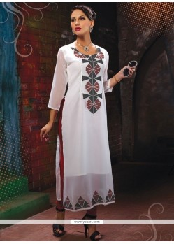 Voluptuous Print Work Off White Party Wear Kurti