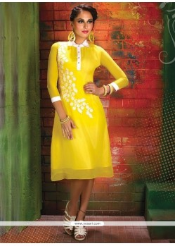 Surpassing Georgette Print Work Party Wear Kurti