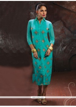 Print Georgette Party Wear Kurti In Blue