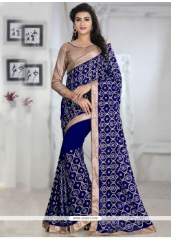 Blissful Embroidered Work Blue Georgette Classic Saree