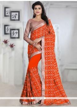 Trendy Orange Patch Border Work Georgette Traditional Saree