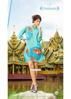 Print Turquoise Color Kurti